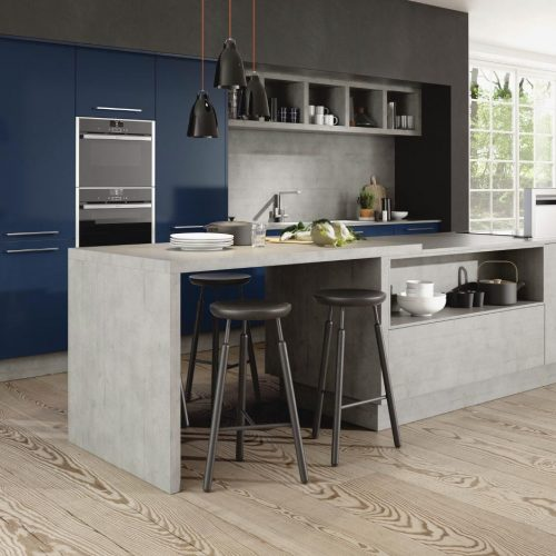 Concrete and Lucido Blue Gloss Contemporary Ashley Ann Kitchen