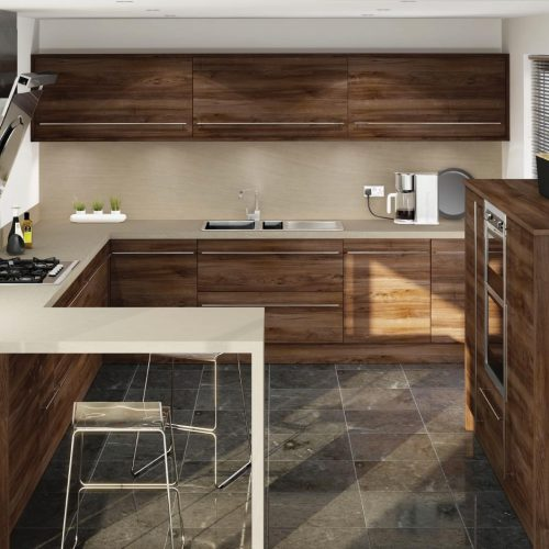 Dark Pacific Walnut Contemporary Ashley Ann Kitchen