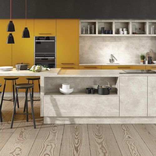 Lucido Yellow Gloss and Chalk Ceramic Contemporary Ashley Ann Kitchen