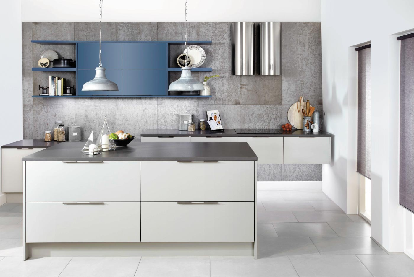 Mercury Smooth Painted October Night and Elgin Grey Contemporary Ashley Ann Kitchen