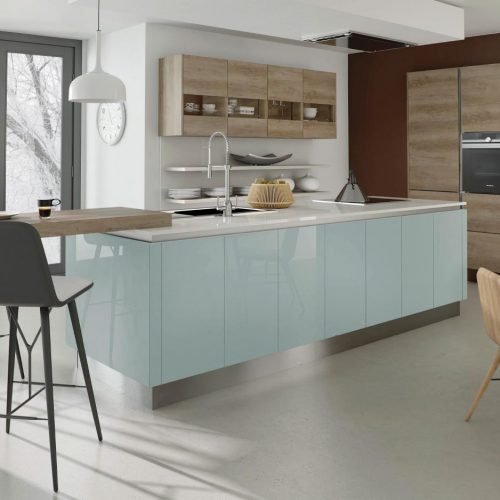 Nebraska Oak and Helix Gloss Warm Blue Contemporary Ashley Ann Kitchen