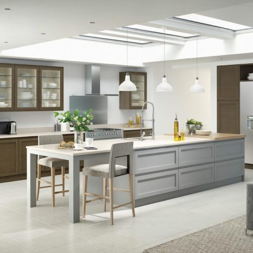 Shaker Smoked Oak and Light Grey Contemporary Ashley Ann Kitchen
