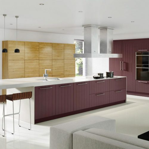 Vertical Lined Smooth Painted Wild Orchid and Arlington Oak Contemporary Ashley Ann Kitchen