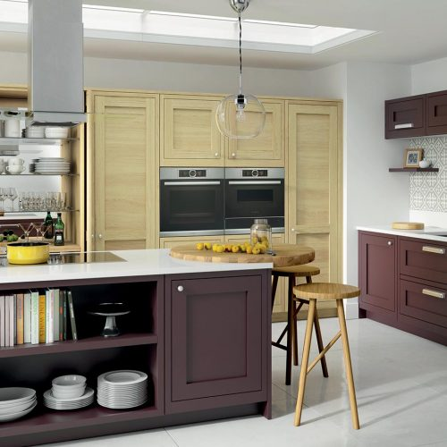 Conival Blonde Oak & Smooth Painted Wild Orchid Caledonia Traditional Shaker Style Kitchen