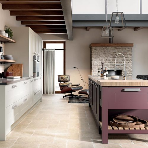Islay Smooth Painted, Porcelain & Wild Orchid Caledonia Traditional Shaker Style Kitchen