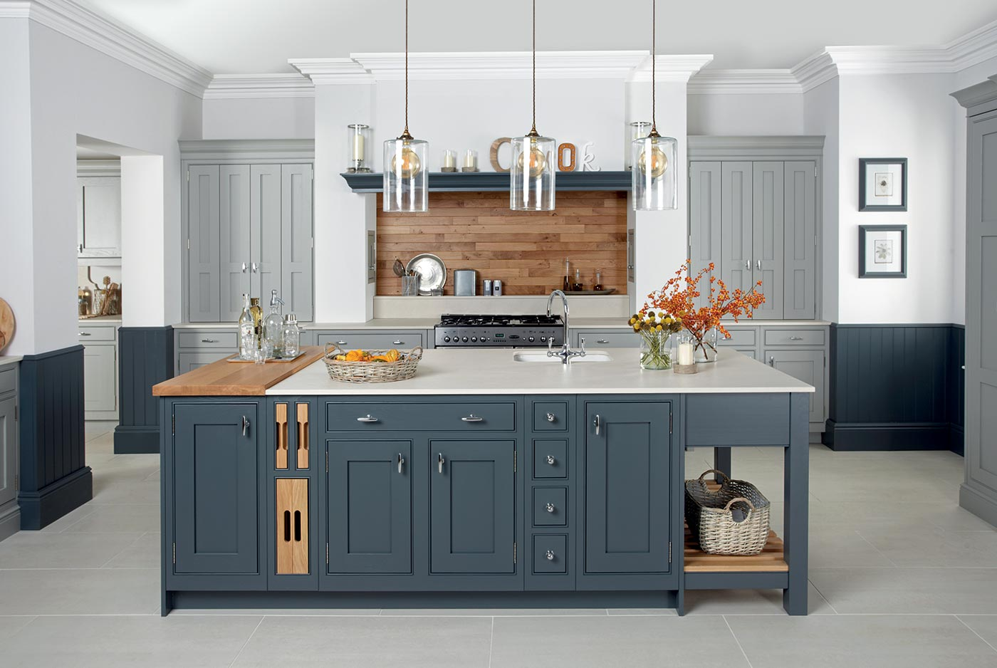 Katrine Painted Elgin Grey & Caithness Slate Caledonia Traditional Shaker Style Kitchen