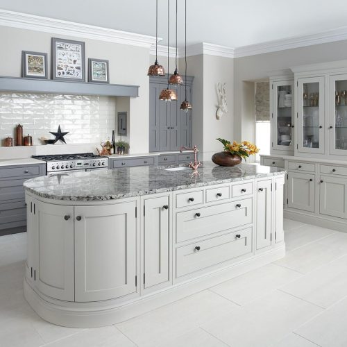 Katrine Painted, Roofer's Lead & Cloudy Dawn Caledonia Traditional Shaker Style Kitchen