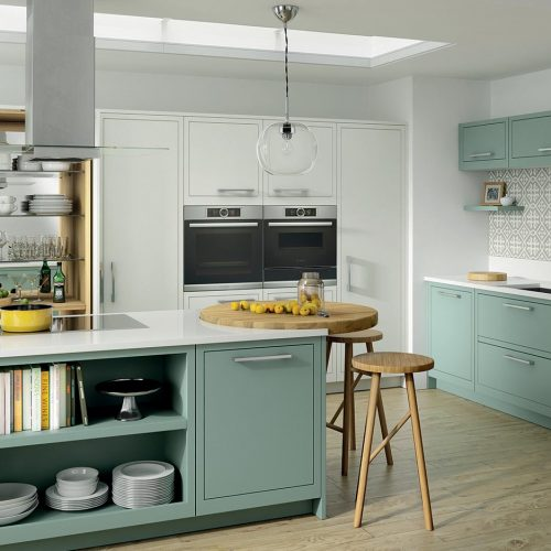 Skye Smooth Painted Cloudy Dawn & Summer Sky Caledonia Traditional Shaker Style Kitchen