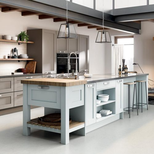 Syre Painted, Sea Harr & Winter Blue Caledonia Traditional Shaker Style Kitchen