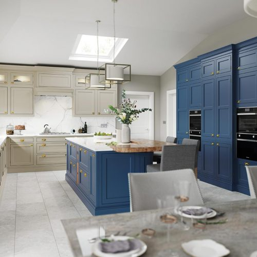 Talmine Painted October Night and Mukle Sand Caledonia Traditional Shaker Style Kitchen