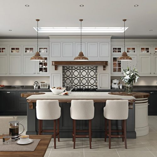 Torridon Painted Fired Charcoal and Farr Beach Caledonia Traditional Shaker Style Kitchen
